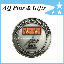 High Quality Challenge Antique Silver Coin with Enamel (coin-088)