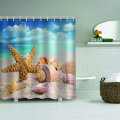 Starfish Conch Waterproof Shower Cortina Sea Beach Bathroom Decor