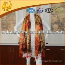 Leopard Digital Printed Long and Long Size Pure Pure Shawl Pashmina Avec 10cm Tassel