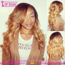 Высокое качество 100% бразильского Виргинские необработанное волос 4/27 основной цвет кружево парики