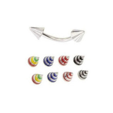 316L Surgical Steel Colorful Cone Curved Barbell