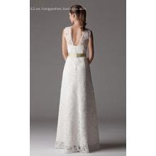 Vestido de novia de encaje hasta el suelo con cuello en V y columna de tubo
