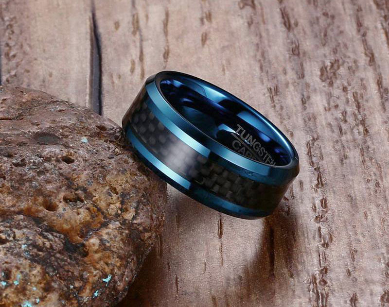 mens blue tungsten wedding bands