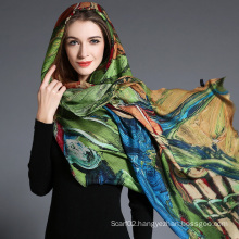 Women′s Abstract Digital Printing of Wool Scarf Hijab