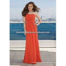 HB2115 Beautiful coral chiffon strapless gathered patters A-line floor length long cheap a-line loose sleeveless dress