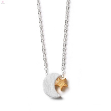 Women Stainless Steel Charm Crescent Moon Necklace