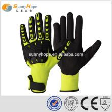 SUNNY HOPE 13 gauge forro amarelo Luvas de nitrilo com impacto arenoso com TPR