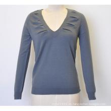 100% lana primavera V-cuello puro color de punto mujeres suéter