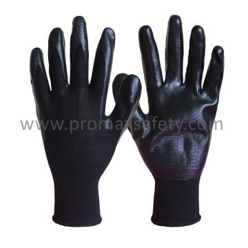 13G Black Polyester Liner Black Nitrile Palm Coated Work Gloves
