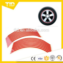 """8mm Vermelho Rim Reflexiva Tape Stripe Decalque Guarnição Para Motocicleta Carro 16 """"17"""" 18 """""""