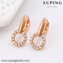 91490 Fashion Fancy CZ Diamond Rose Gold Color Imitation Jewelry Earring Hoop