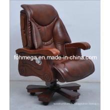 Chaise de bureau haut de gamme avec bras et jambes en bois, chef / PDG / président président (FOH-1221)