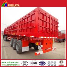 China camião basculante da carga 60-70cbm / semi reboque de caminhão basculante da caixa