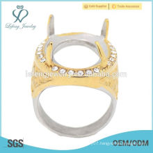Hottest indonesia crystal gold&silver ring without stone indonesia men's ring