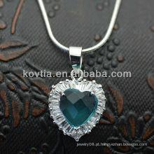 Elegante prata 925 coração gemstone diamante colar de safira azul safira
