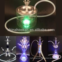 Bestes verkaufendes klares Glas-Huka shisha / nargile / Wasserpfeife / hubbly sprudelnd mit guter Qualität und geführtes Licht