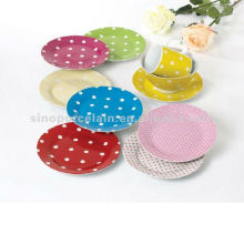 19cm round dinner plate with dots design for BS12050