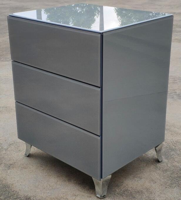 Grey Glass 3 Drawer Bedside Mfg02