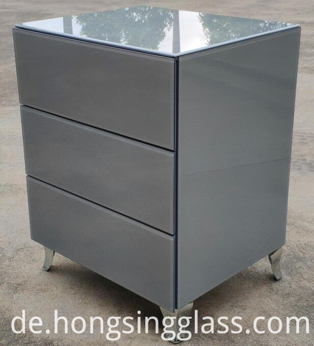 Grey Glass 3 Drawer Bedside Mfg02