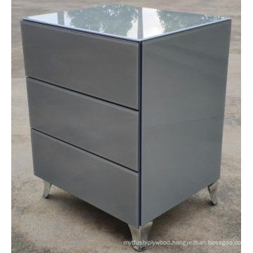 Grey Glass stainless steel leg 3 Drawer Bedside