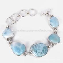 New Design Larimar Expensive Gemstone 925 Sterling Silver Bracelet Handmade Jewelry