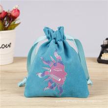 Custom logo mini blush draw string necklace jewellery pouch velvet jewelry lipstick perfume packaging bag