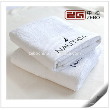 Egyptian Cotton Customized Embroidery Logo White Luxury Hotel Bath Towels