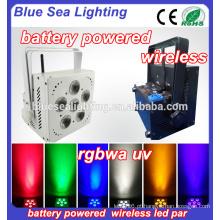 Casamento 6 * 18w rgbwa uv 6in1 IR WIFI bateria sem fio conduzido par