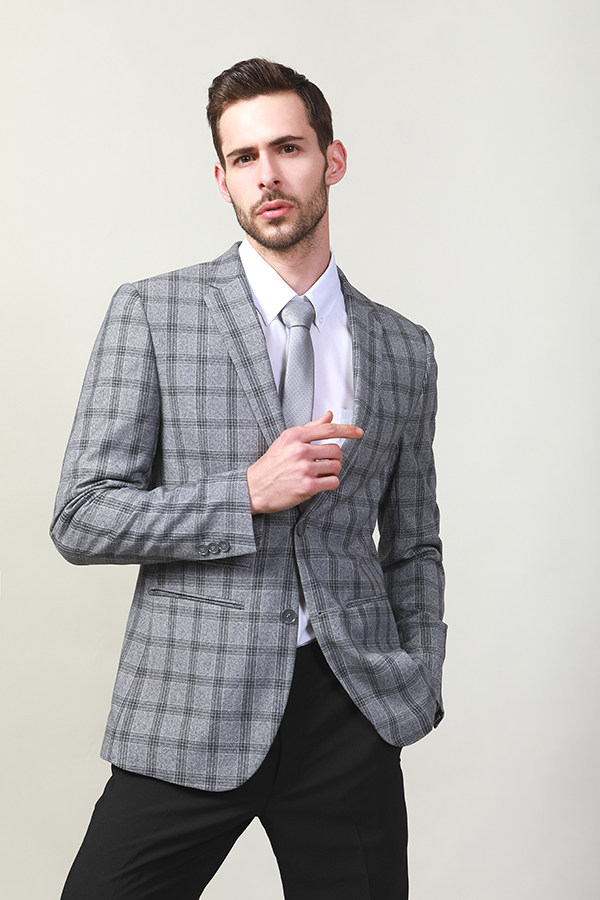 Men's check blazer