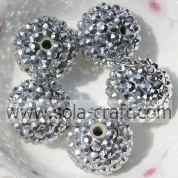 20*22MM Silver Resin Rhinestone beads For DIY Fashion Children's Jewelry