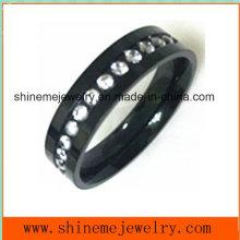 Qualitäts-Art- und Weiseschwarzes mit Zircon-Schmucksache-Finger-Ring (CZR2552)