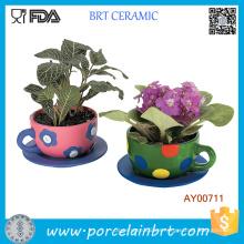 Teacup Garden Plant Pots Cerámica al aire libre Large Flower Pots Flowerpot
