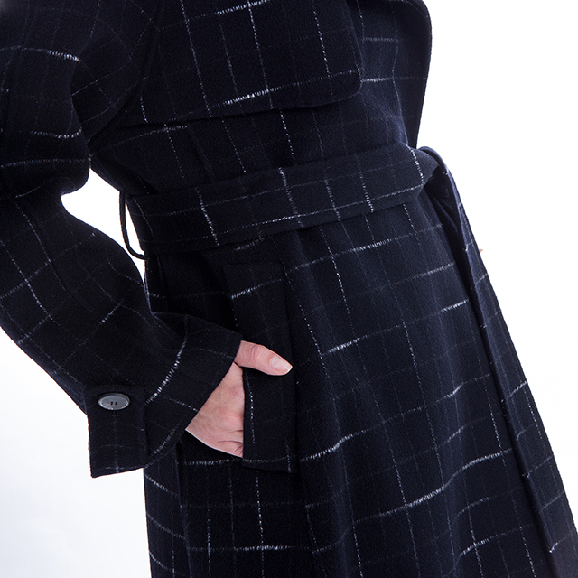 Details of blue checked cashmere overcoat