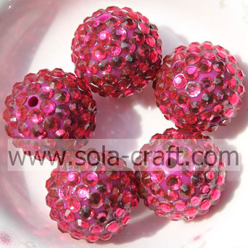 Wholesale Shinning Rose Resin Rhinestone Ball Beads 20*22MM For DIY Bracelets