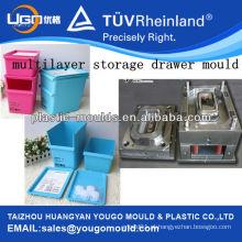 Molde de gaveta de armazenamento de plástico de 2 camadas / moldagem de caixa de armazenamento multicamada