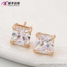 Nouveau venu élégant carré CZ cristal Rose plaqué or mode imitation bijoux boucles d'oreilles -91062