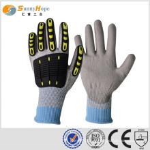 Luvas de impacto de brincadeira TPR de ensolarado, tricotadas com HPPE