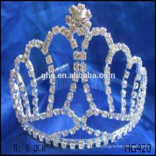 Crown tiaras Kristall Rhinestone Hochzeit Haare Zubehör hohe Runde Krone beliebte Festzug Kronen