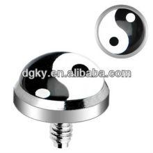 Surgical Steel interiormente rosqueado Ying Yang Logo personalizado Dermal Anchor jóias