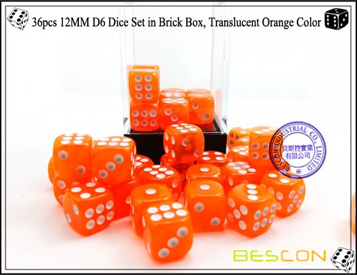 36pcs 12MM D6 Dice Set in Brick Box, Translucent Orange Color-4