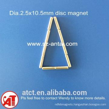 dia.2.5x10.5mm disc magnets / neodymium disk magnet / neodymium round magnet