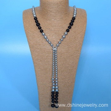 Handmade Pearl Knots Jewelry Long Shell Pearl Necklace