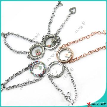 Novo Deign rodada de cristal Locket pulseira (LB16041203)