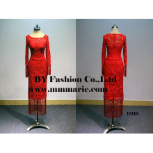2016 cocktail dress red tea length lace illusion back long sleeve short formal cocktail dress