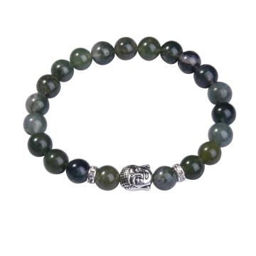 8MM Aquatic Agate Buddhism Prayer Beads Bracelet