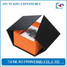 caixa de papelão preta por atacado do relógio do luxo com descanso branco