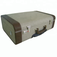Hot sale leisure large size handmade canvas and leather wooden trolley suitcase