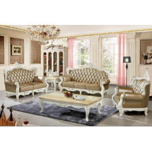 Golden Color New Classic Leather Sofa, Antique Sofa (2205)