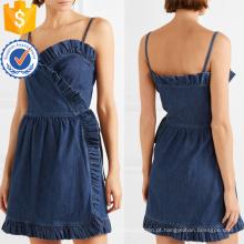 Verão Spaghetti Strap Ruffled Denim Wrap Mini Vestido Fabricação Atacado Moda Feminina Vestuário (TA0309D)