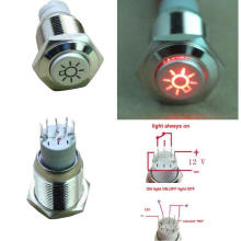 16mm 12V LED Metal Push Button Switch, Momentay Ring Illuminated Push Button Switch